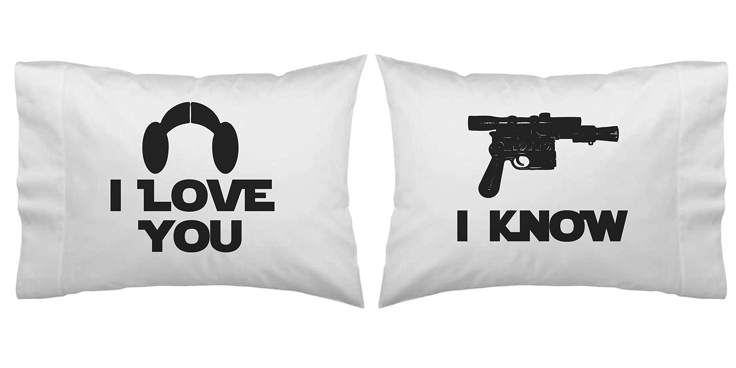 Star Wars Inspired I Love You, I Know Blaster Pillowcase Set