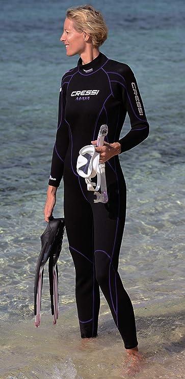Cressi Lido Lady Monopiece Wetsuit 2 mm Combinaison Humide Monopi/èce 2mm-Femme Noir//Aiguemarine