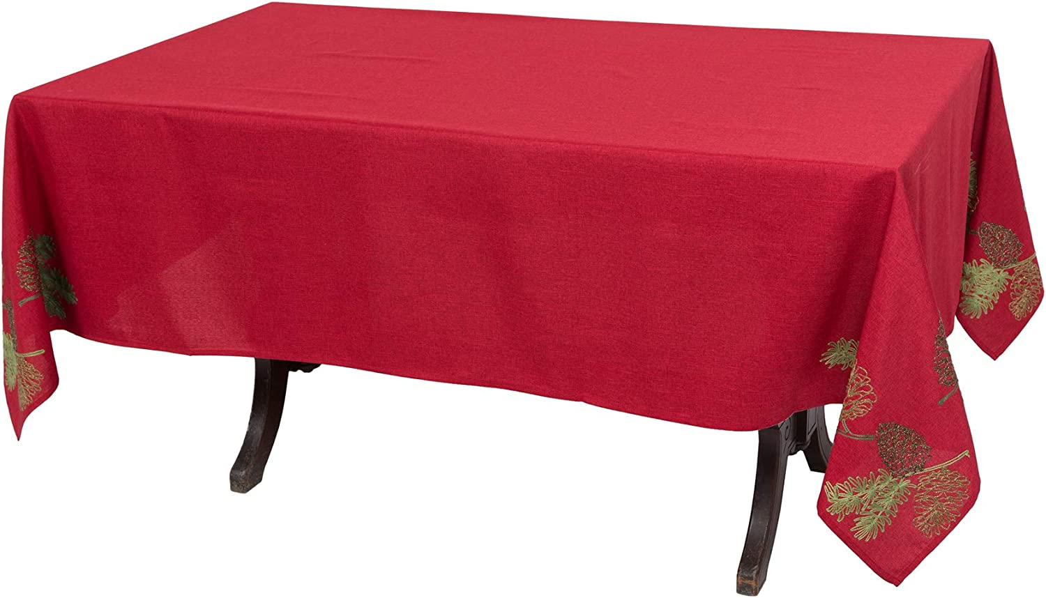 Xia Home Fashions Christmas Pine Tree Branches Tablecloth, 70''x144'', Red