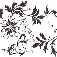 Modern Art Stickers Sticker Papillon Fleurs Stickers Muraux Salon Chambre Amovible Vinyle Stickers Muraux Murales pour La Décoration De La Maison par TheBigThumb