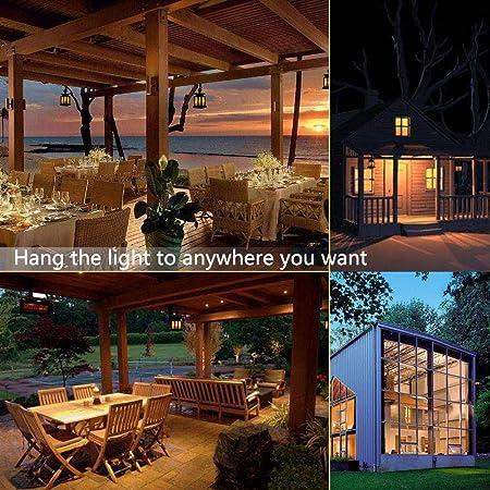 MOGOI Linternas solares para Colgar al Aire Libre, Vintage Impermeable, LED, Parpadeo, sin Llama, Velas Decorativas, Luces con Abrazadera de Anillo Circular para jardín Exterior Patio Deck: Amazon.es: Hogar