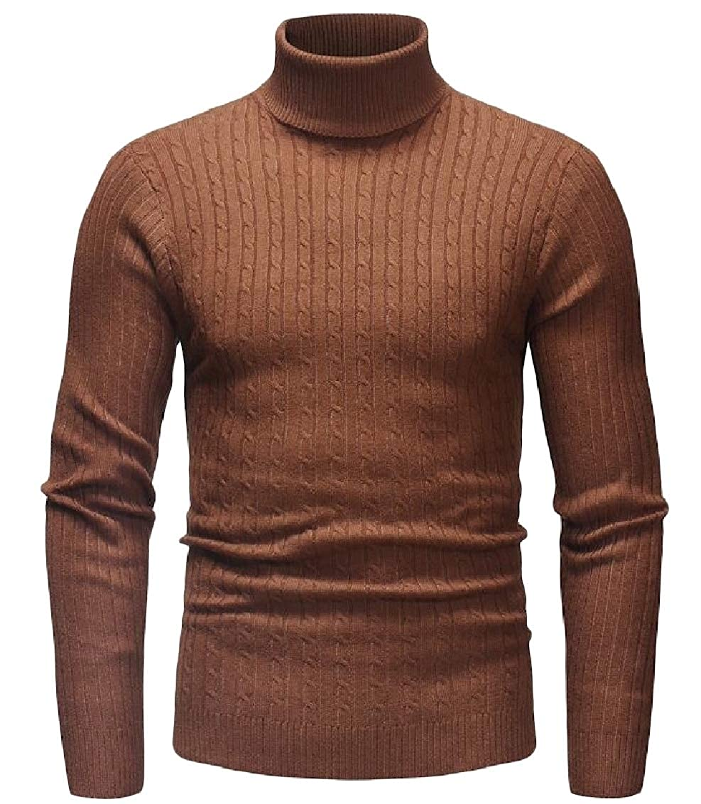 JSY Mens Pure Colour Knit Casual High Neck Pullover Jumper Sweaters