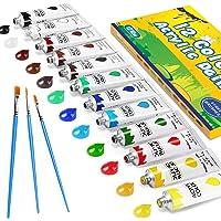 Pintura Acrílica, Gifort 12 x 12 ml Kit de Pintura Acrílica con 3 pinceles para Niños, Principiantes y Profesionales…