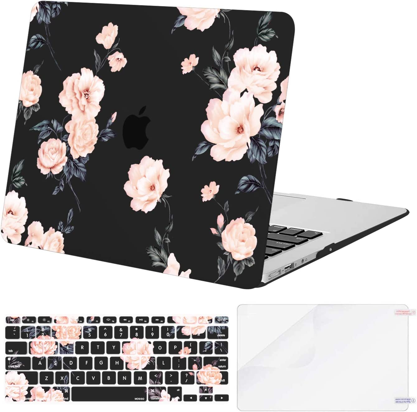MOSISO Compatible with MacBook Air 13 inch Case (A1369 & A1466, Older Version 2010-2017 Release), Plastic Camellia Hard Shell Case & Keyboard Cover Skin & Screen Protector, Black