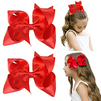 "6/"" Solid Ribbons Bowknot Hair Bows With Alligator Hair Clip For Baby Girls New"