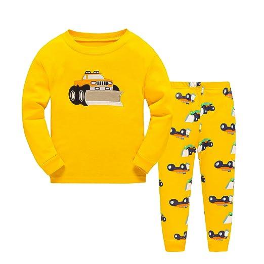 7a73007b60df Amazon.com  DAWILS Boys Bulldozer Pajamas Sets Yellow Toddler ...