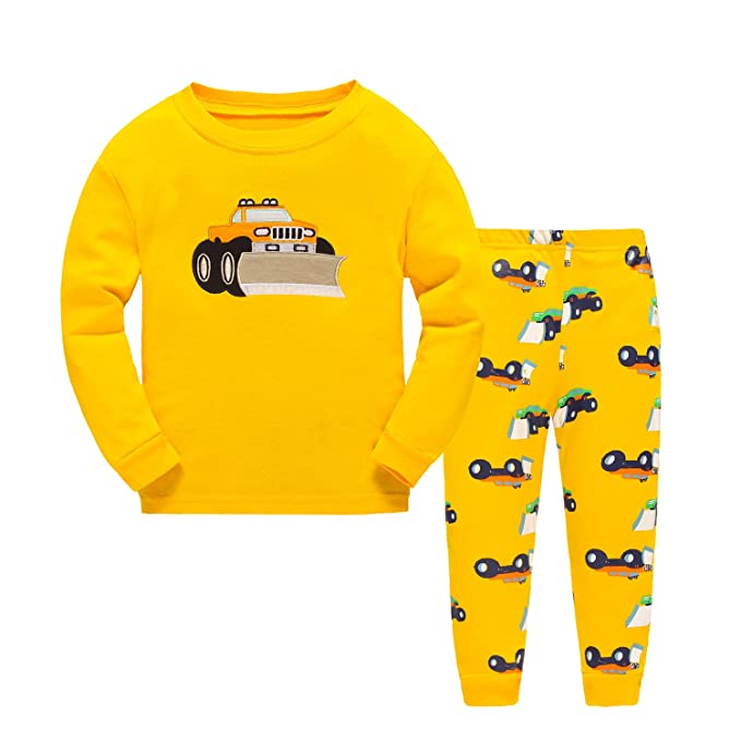Amazon.com: Deer Mum Boys Cotton Truck Pajamas Kids 2 Pcs Sleepwear Clothes Set PJS Suit: Clothing