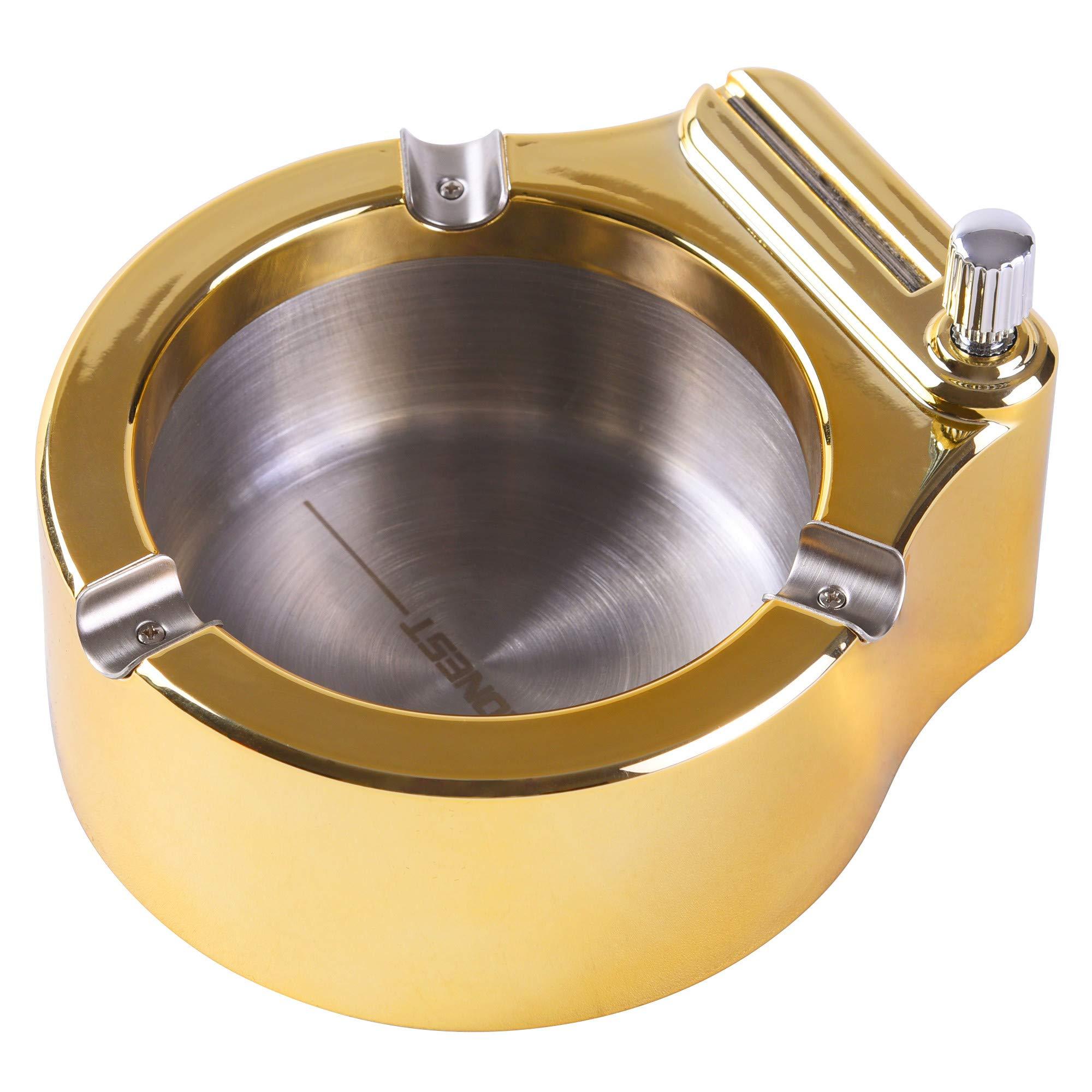 Retro Metal Ashtray,Refillable Kerosene Lighter ashtray,Stainless Steel Ash TrayPersonality Gift Ashtray for