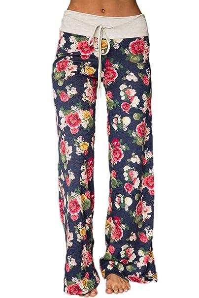 Zojuyozio Women Comfy Palazzo Pants Casual High Waist Drawstring Wide Leg Trousers by Zojuyozio