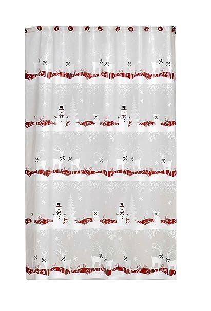 Christmas Reindeer Winter Snowman Vinyl Shower Curtain With Matching Hook Set