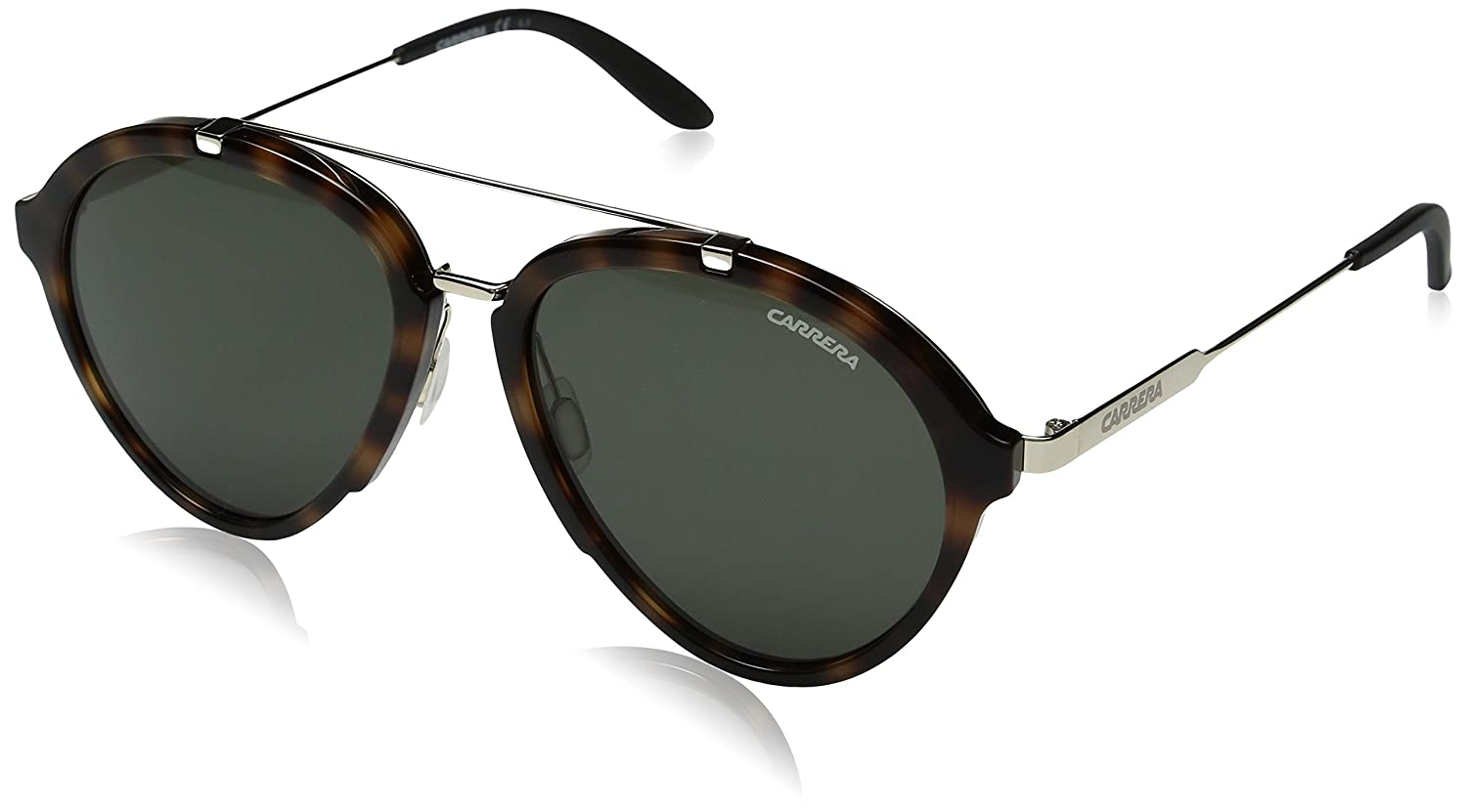 2372ad3a8f55 Amazon.com: Carrera Men's Ca125s Aviator Sunglasses, Havana Gold/Green, 54  mm: Clothing