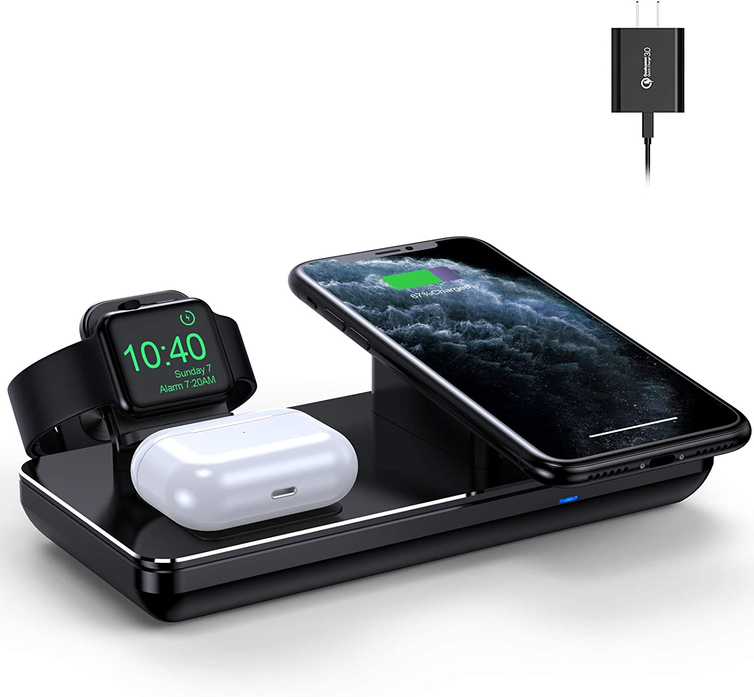 Wireless Charging Station for Apple Watch iPhone & AirPods Pro,18W Fast Wireless Charger for iPhone 12/11/XR/XS Max/Xs/X/8, iWatch 6/5/4/3/2/1(Surface Metal Material & Include QC3.0 Adapter)