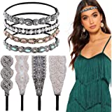 8 Pieces Rhinestone Elastic Headbands 1920s Headbands Handmade Crystal Beaded Hairbands 20s Headpieces Elegant Wide Lace Stretch Headbands for Women Party Daily Headwear
