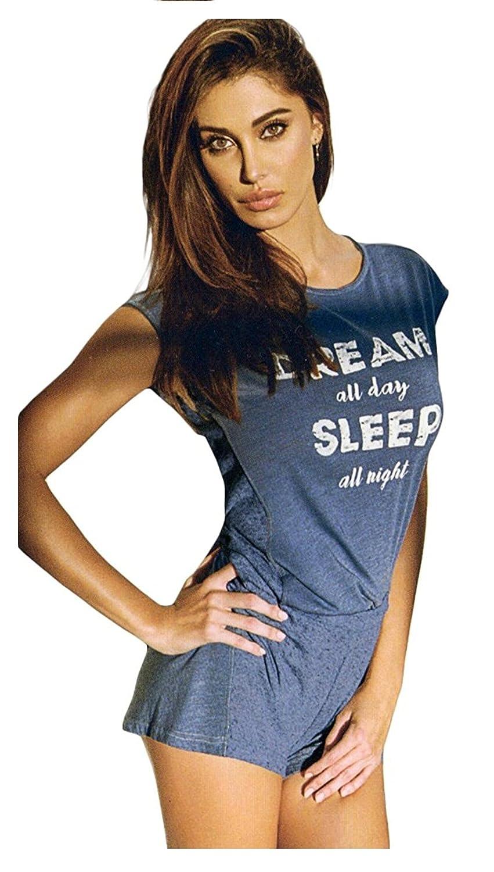 d335f65065f7 JADEA Pigiama Estivo Donna Cotone Jersey 2 Pezzi Modello con Maglia  Girocollo Manica Corta con Serigrafia e Pantalone Corto: Amazon.it:  Abbigliamento