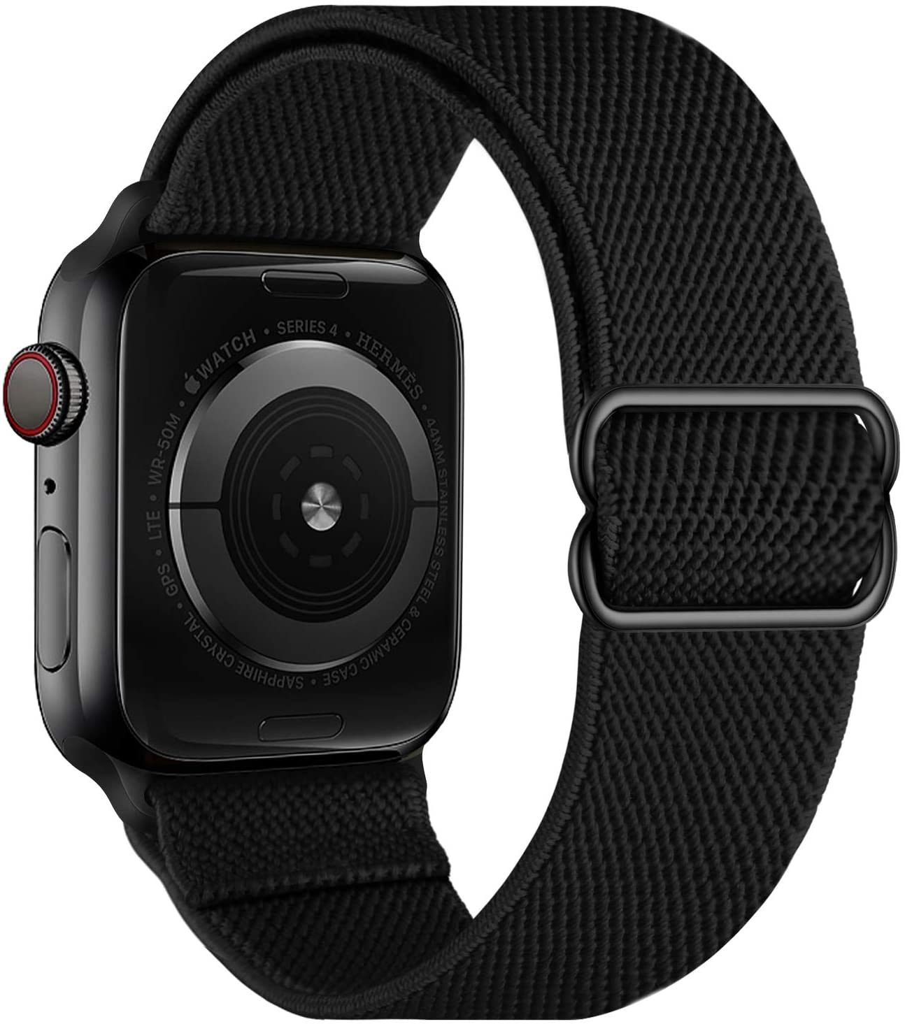 OXWALLEN Stretchy Nylon Solo Loop Compatible with XL Apple Watch Bands 42mm 44mm, Adjustable Elastic Braided Stretches Sport Women Men Strap for iWatch SE Series 6/5/4/3/2/1,Black