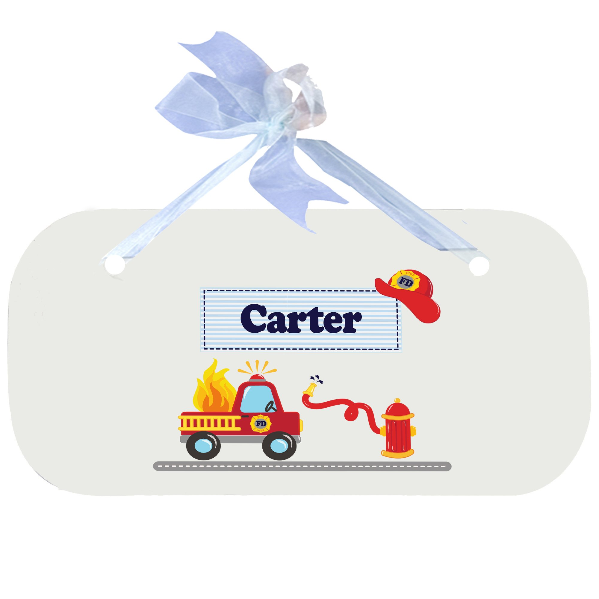 Personalized Fire Truck Nursery Door Hanger Plaque with Blue Ribbon