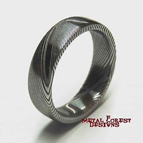 7f2a43470b7a2 Stainless Damascus Steel Ring, Stainless Steel Wedding Band, Wedding Ring,  Damascus Ring