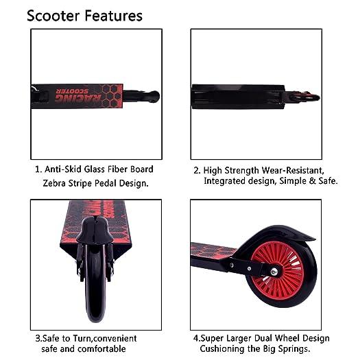 Amazon.com: Kids Kick Scooter, flantor manubrio de altura ...
