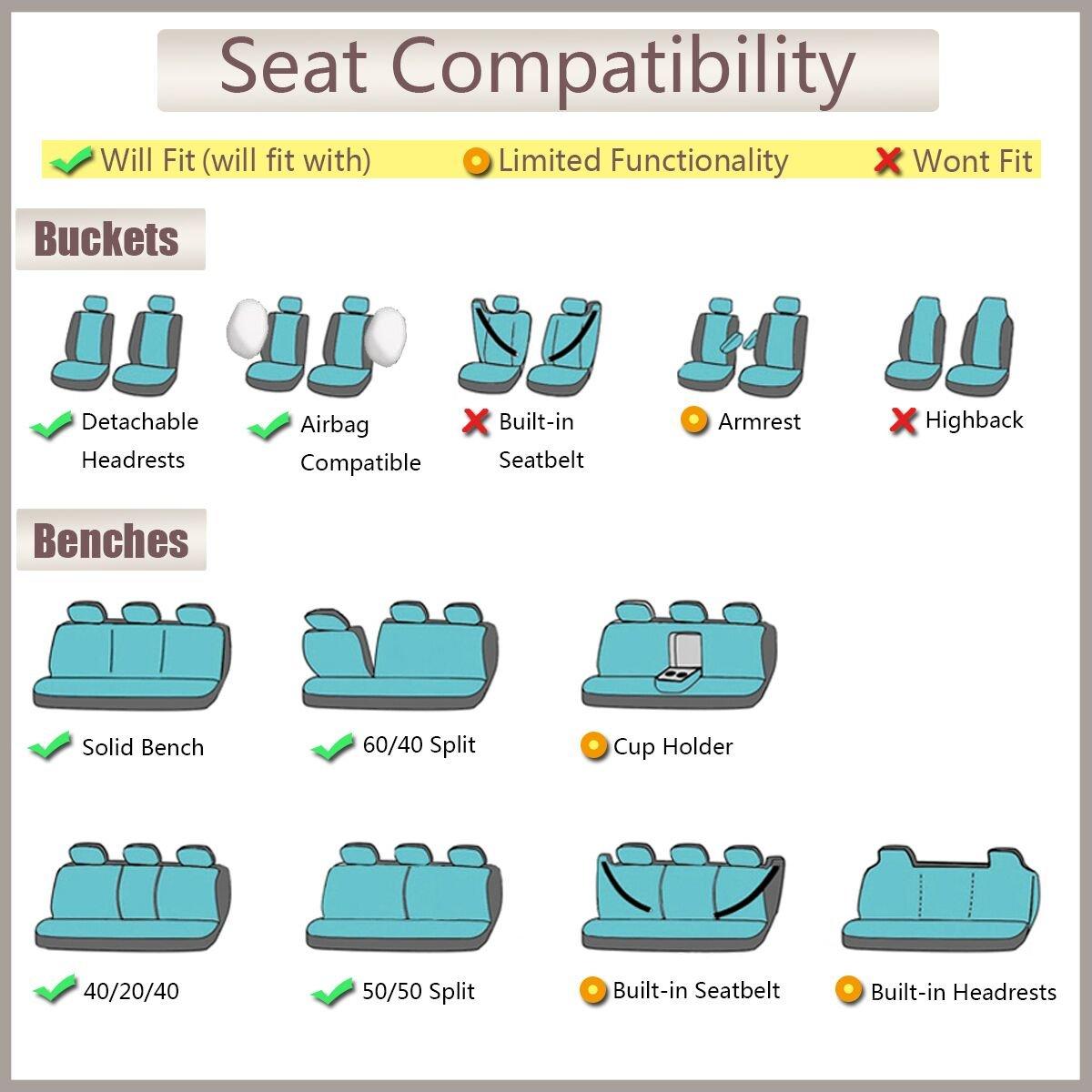 Ltd FB-104015-0303 Flying Banner 11 PCS Mesh and Jacquard Universal Full Set Car Seat Covers with Side Airbags Ningbo Qiyang International Trade Co 11 PCS , Beige Full Set