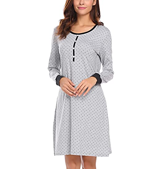 Ekouaer Soft Sleepshirt for Women Long Sleeve Sleepwear Cotton Nightshirt  Sleep Dress Grey M 9dacf7387