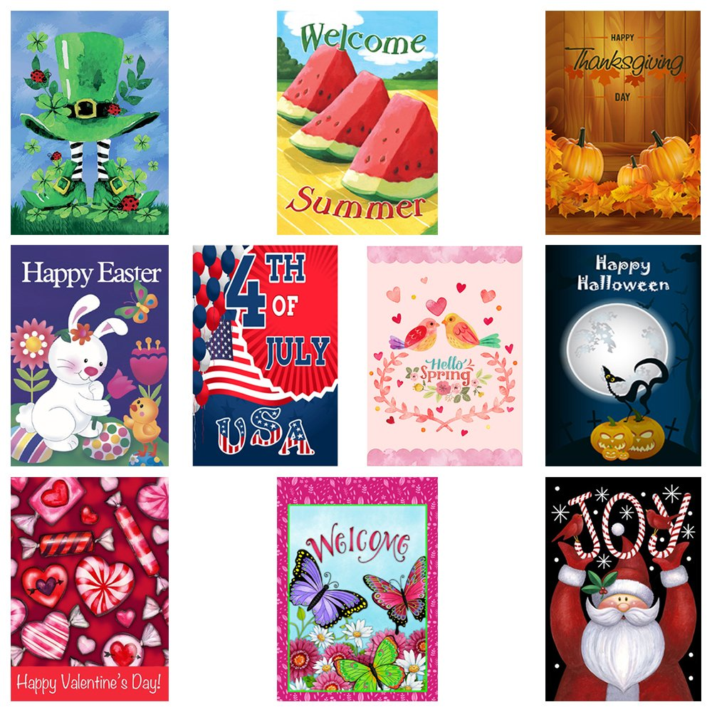 Decorative Seasonal Garden Flags, Set of 10, For Outdoors, 12x18in, All Seasons & Holidays - Premium Yard Flags, Double sided designs, 3X Layers Strong Material, FREE 2 stoppers & 2 anti-wind clips