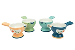 WD-Set of 4 Pcs Cute Bird Shape Ceramic soft or Hard boiled egg cup holder (Egg holder) - for Breakfast Brunch,kitchenware, home kitchen decoration or even a gift mix color with cutely package.
