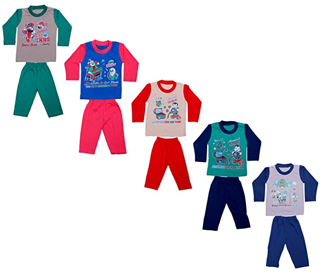 cb40c49753 Indistar Kids Pure Cotton Baba Suit (T-Shirt and Bottom) (Pack of 5 ...