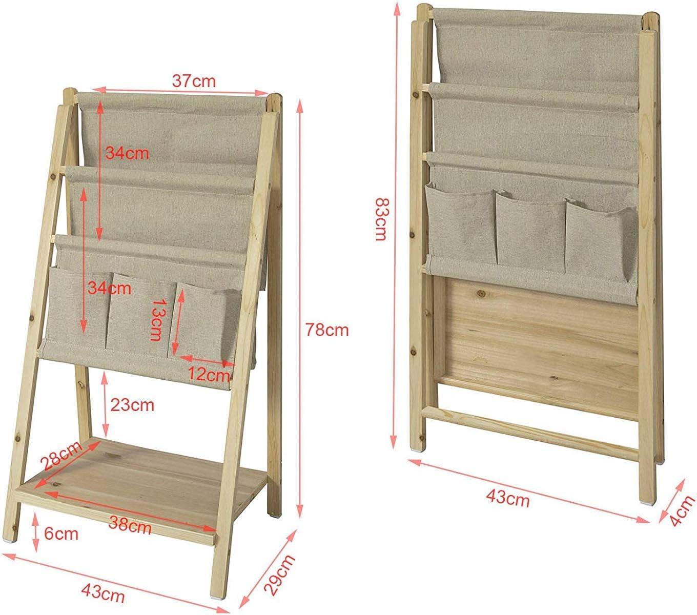 SoBuy/® FRG276-N Biblioth/èque /Étag/ère /à Livres Pliable Porte-revues /Étag/ère de Rangement Pliante 2 Compartiments 3 Pochettes et 1 /étage