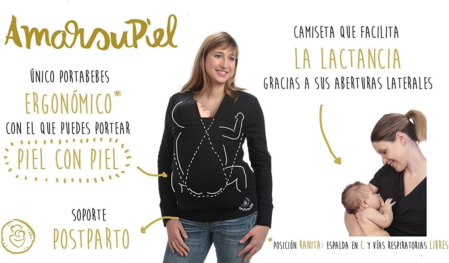 36-38 Camiseta de porteo camiseta portabeb/és Antic/ólicos beb/é invierno Amarsupiel Talla S Color negro