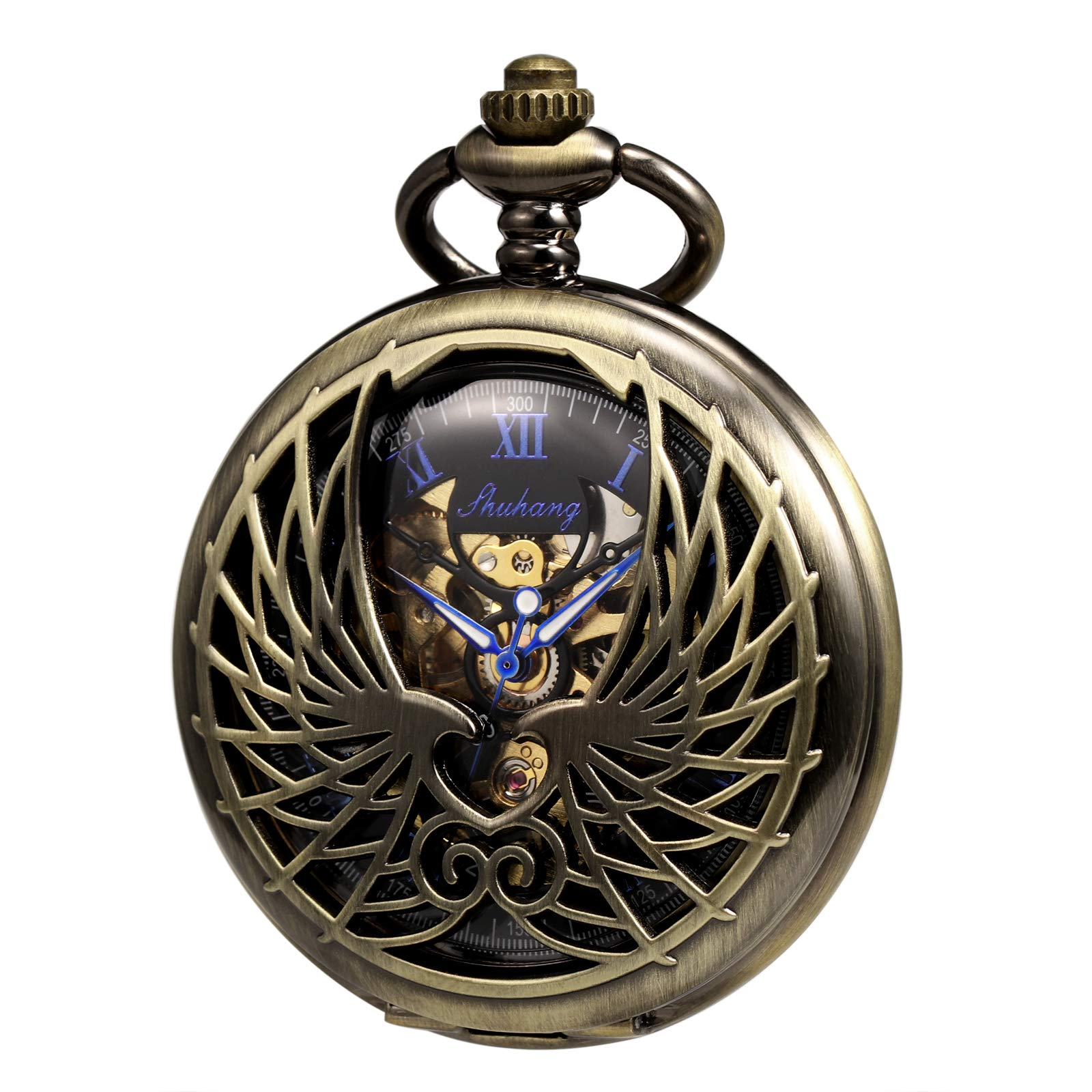 TREEWETO Men's Women's Pocket Watch Mechanical Skeleton Eagle Wings Double Hollow Case Roman Numeral with Chain Gift Box by TREEWETO