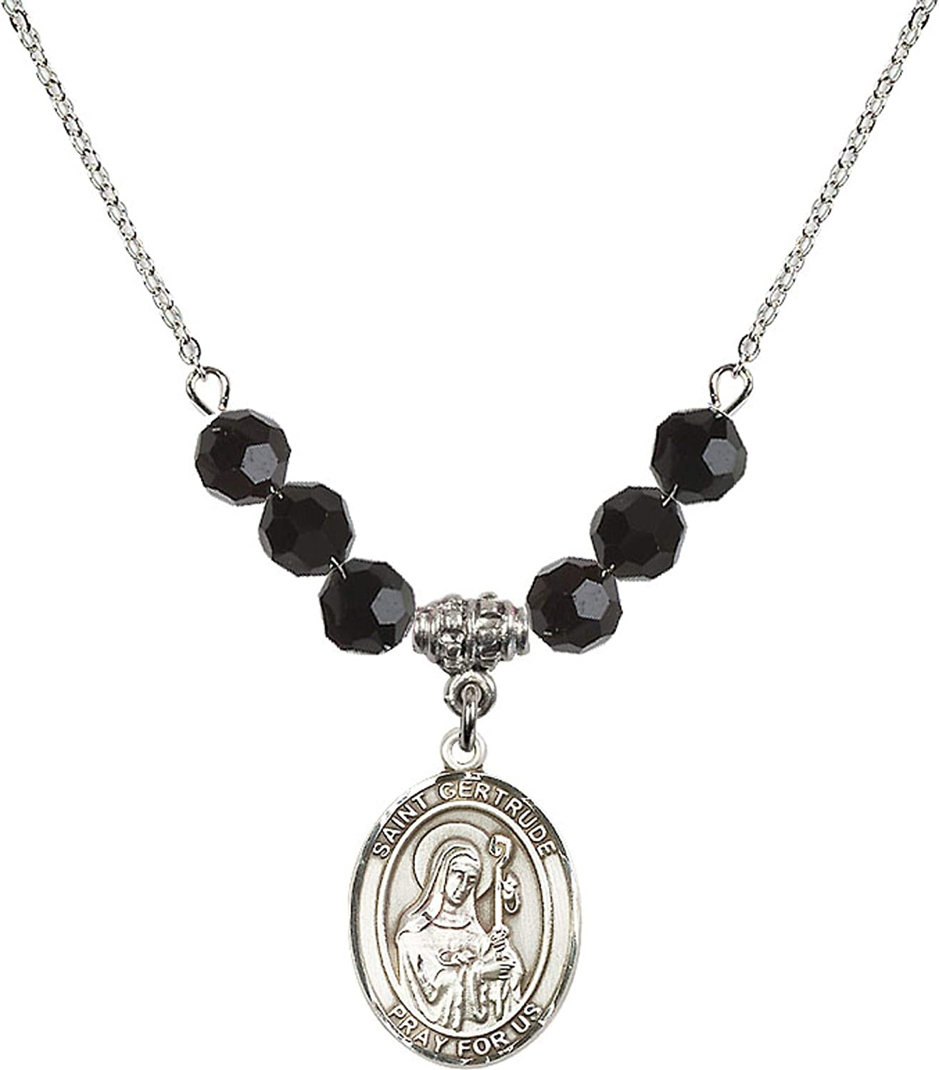 18-Inch Rhodium Plated Necklace with 6mm Jet Birthstone Beads and Sterling Silver Saint Gertrude of Nivelles Charm.