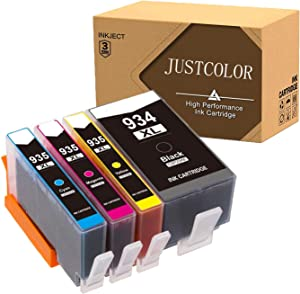 JUSTCOLOR Compatible Ink Cartridge Replacement for HP 934XL 935XL 934 XL 935 XL to use with OfficeJet Pro 6815 6812 6830 6230 6835 6820 6220 Printer (1 Black, 1 Cyan, 1 Magenta, 1 Yellow, 4-Pack)