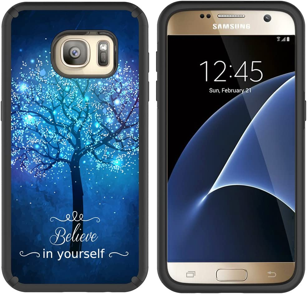 MagicSky S7 Case, Galaxy S7 Case, Slim Corner Protection Shock Absorption Hybrid Dual Layer Armor Defender Protective Case Cover for Samsung Galaxy S7 (Believe in Yourself)