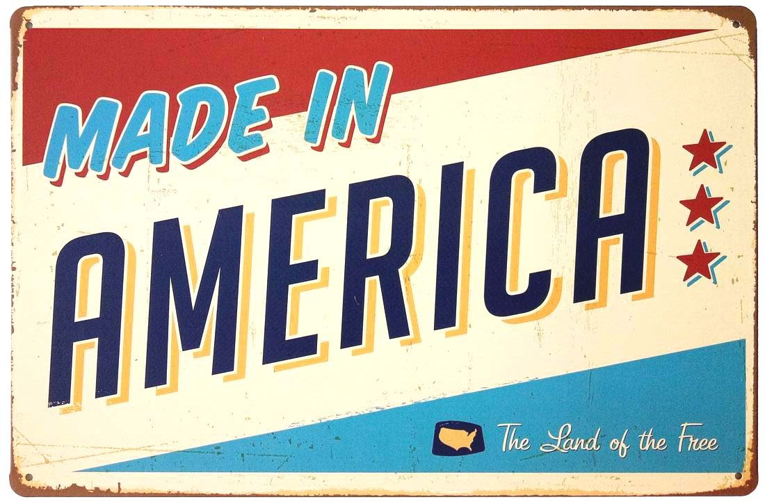 ERLOOD Made in America Retro Metal Vintage Tin Sign 12 x 8