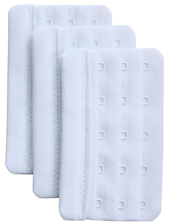 Chanie Women Pack of 3 Soft Comfortable 5 Hooks Bra Extender, 5.9cm x 9.4cm