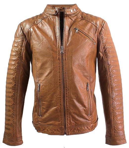 Erik de Ricano - Chaqueta de piel de Napa color marrón, para hombre cognac marrón S : Amazon.es: Ropa y accesorios