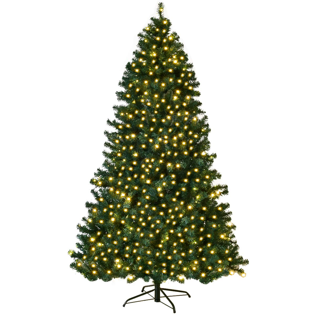 Goplus 7FT Pre-Lit PVC Artificial Christmas Tree Auto-Spread/Close up Premium Spruce Hinged w/ 300 LED Lights & Metal Stand, Green (7 FT)