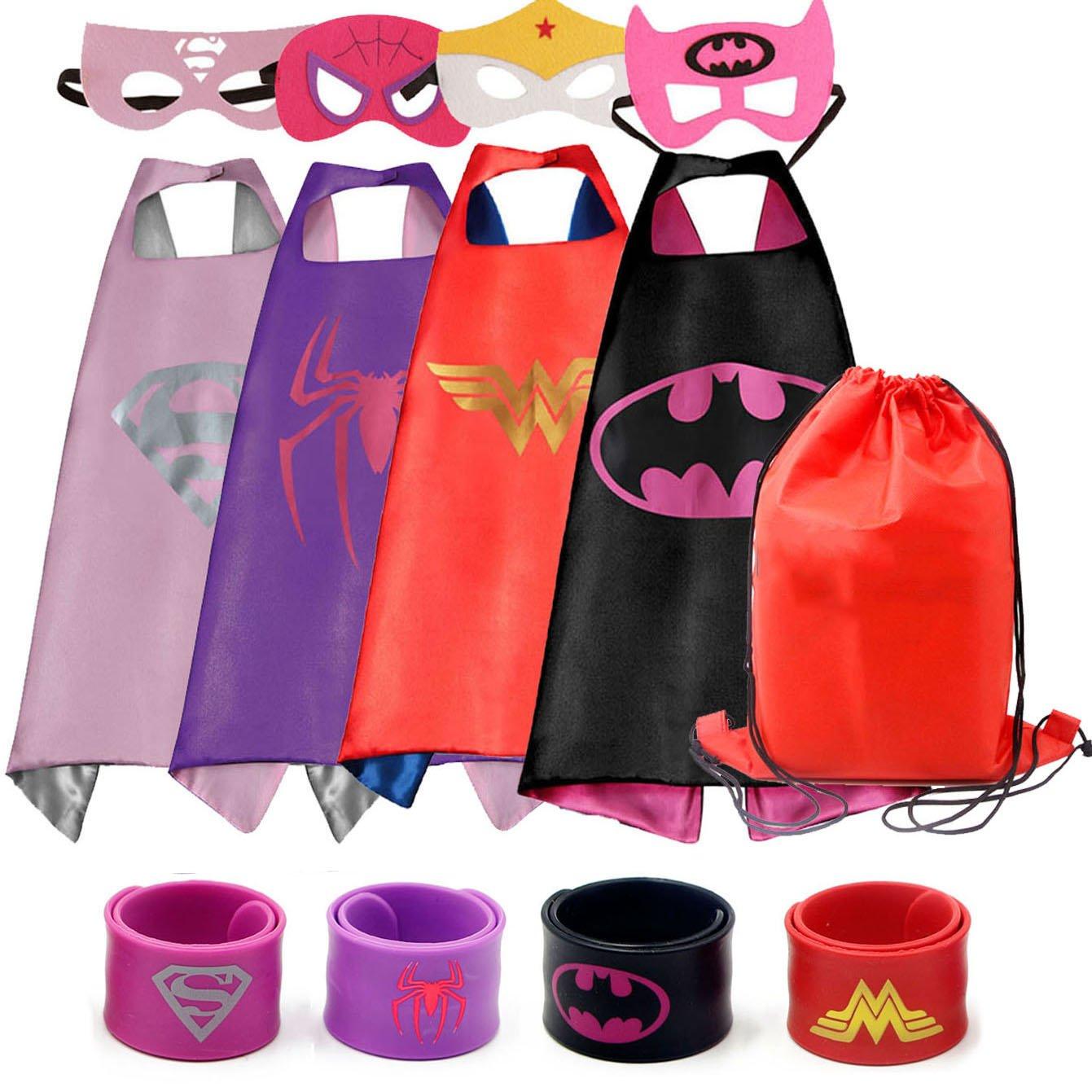 Dress up Costumes Cartoon 4-Pack Satin Capes Set with Felt Masks,Slap Bracelets and Exclusive Bag for Girls (4pcs for Girls)