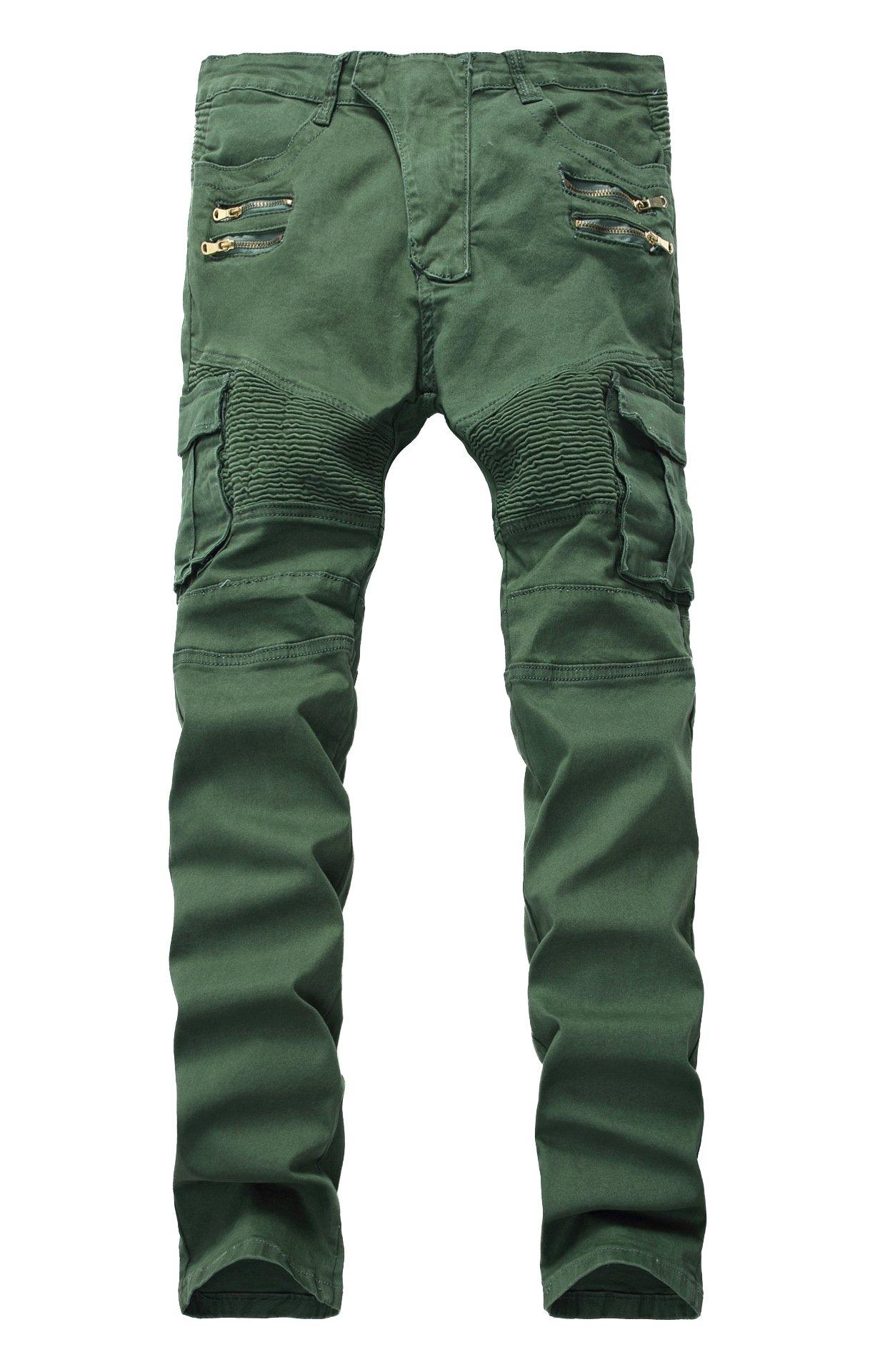 LAMCORD Men's Biker Skinny Slim Fit Stretch Crinkle Cargo Pants Denim Jeans, Army Green, W34
