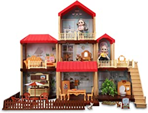 Temi Dollhouse DIY Pretty Dreamhouse Kit Decorations w/ Furniture, Accessories, Doll Action Figure, Build Perfect Toddler Girls and Kids Crafting Toy with Real LED Light(7 Rooms)
