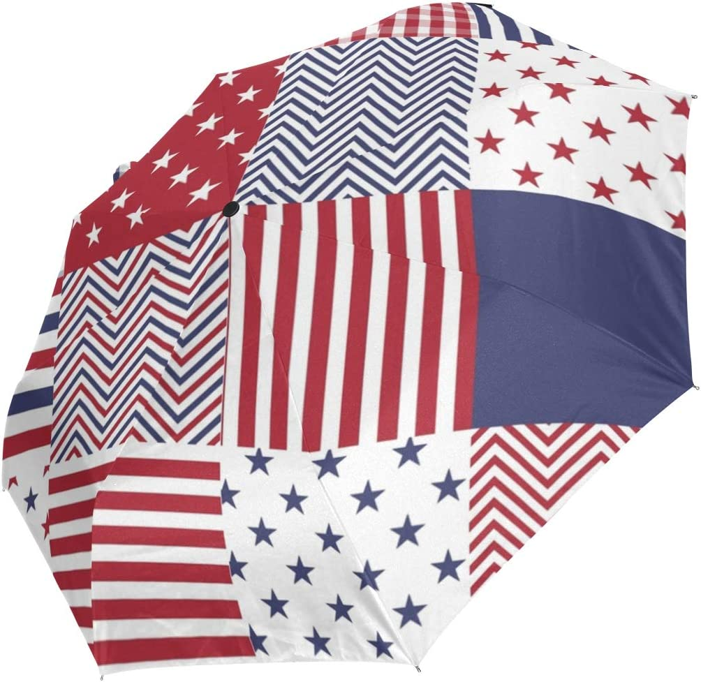 The Patchwork Of Flag USA Automatic Open Folding Compact Travel Umbrellas For Women