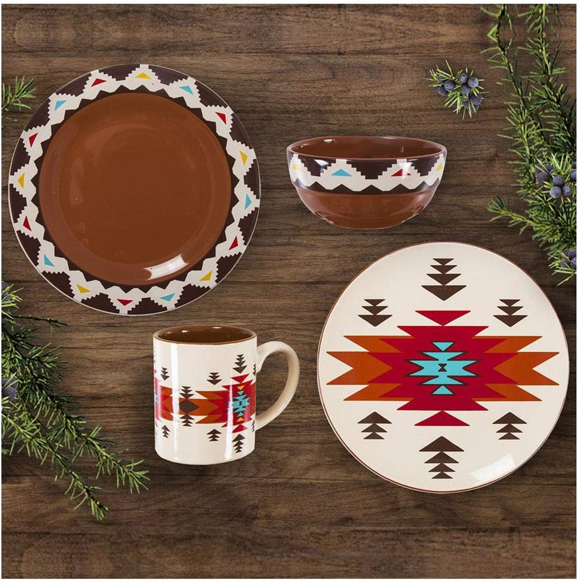 HiEnd Accents Del Sol Aztec 16-PC Southwestern Dinnerware Set, Brown, Cream, Red, Turquoise & Yellow