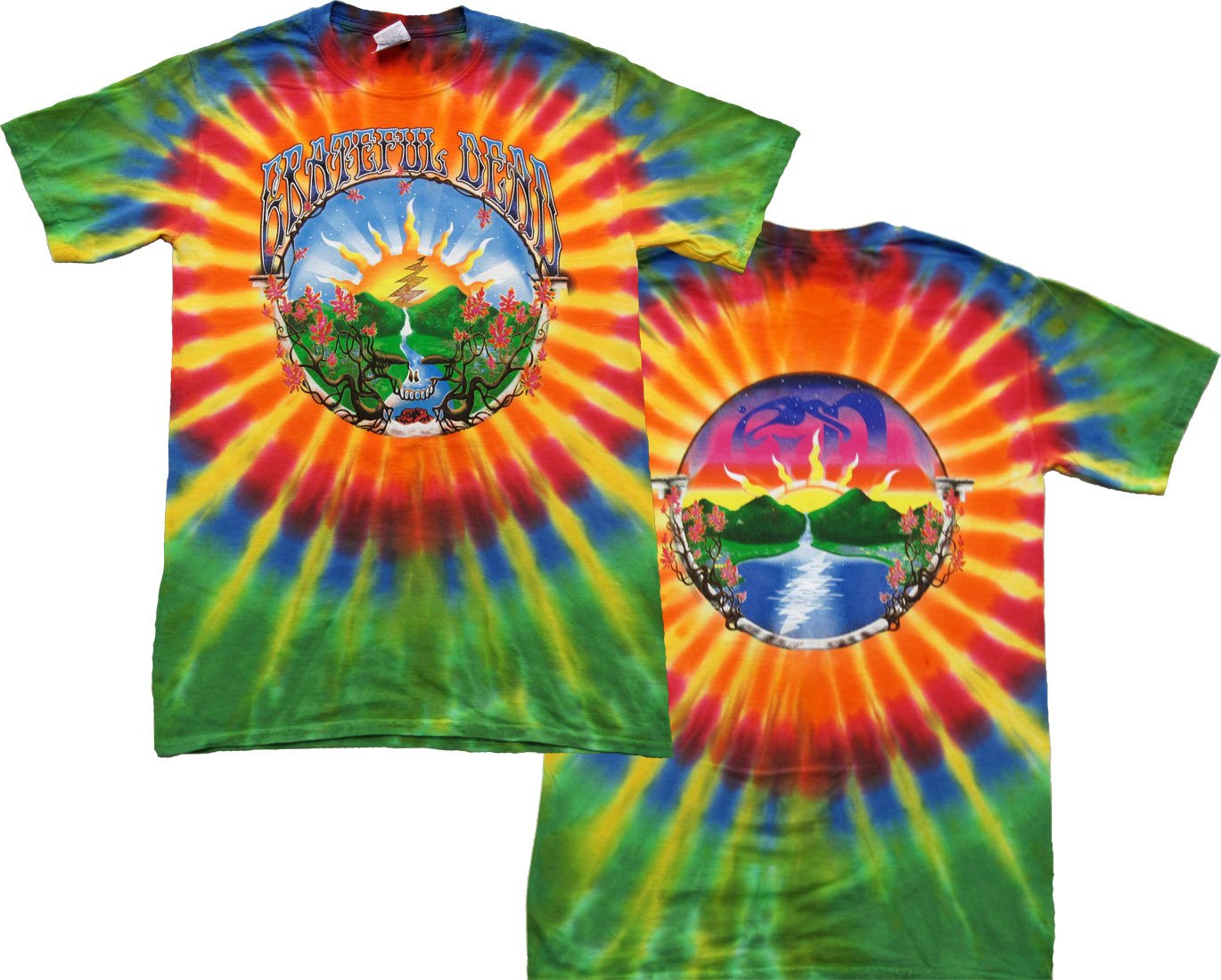 Tie Dyed Shop Waterfall Grateful Dead T Shirt for Men and Women-XLarge-Multicolor