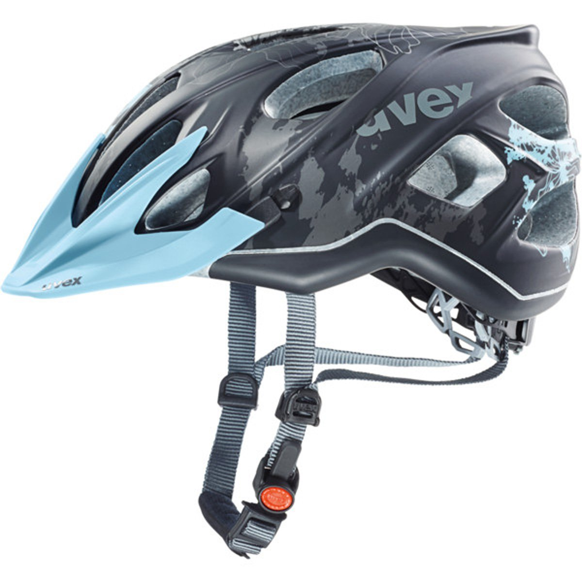 Uvex 2017レディースStiva CC自転車用ヘルメット - 41079(ブラックフラワー - ブルーマット - 52-57 cm)   B01DZHGN0U