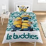 """Parure de lit simple """"Moi, Moche et Méchant"""" et Minions (licence officielle), housse de couette pour filles et garçons, Le Buddies, Simple"""