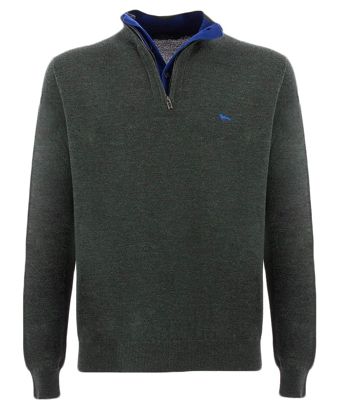 HARMONT & BLAINE maglia blu mezza zip e bottoni per uomo