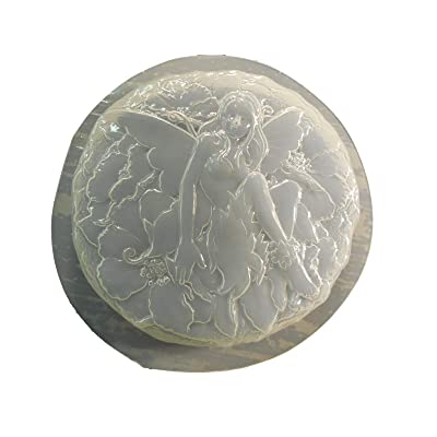 Round Fairy Stepping Stone Concrete or Plaster Mold 1339: Home & Kitchen
