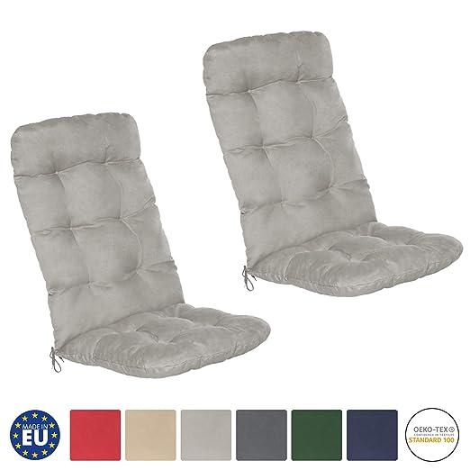 Beautissu Flair HL - Set de 2 Cojines para sillas de balcón o Asientos Exteriores con Respaldo Alto - 120x50x8 cm - Gris Claro