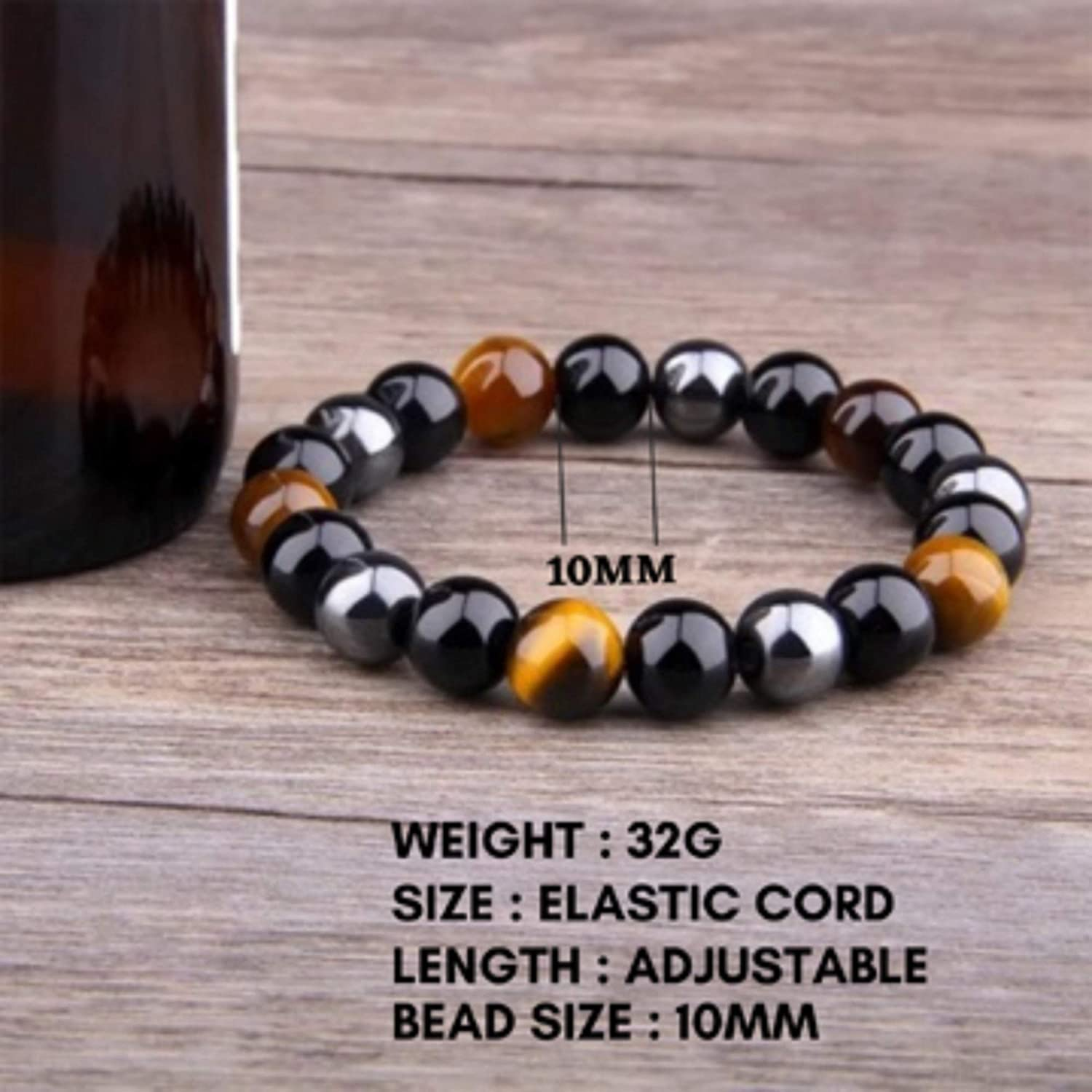 Crystal Vibe Triple Protection Bracelet for Prosperity Good Luck and Happiness Natural Stone Tiger Eye Black Obsidian and Hematite Bracelet for Men Women Size 10mm