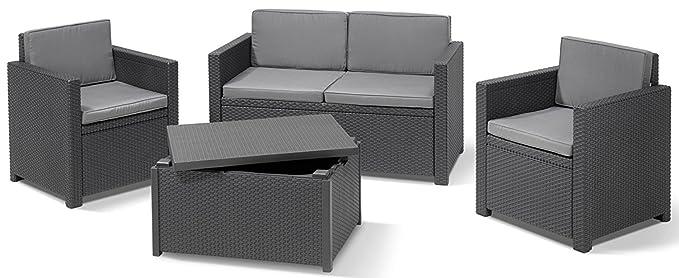 ALLIBERT Salon de Jardin Monaco 220025 avec 2 fauteuils, 1 canapé et ...